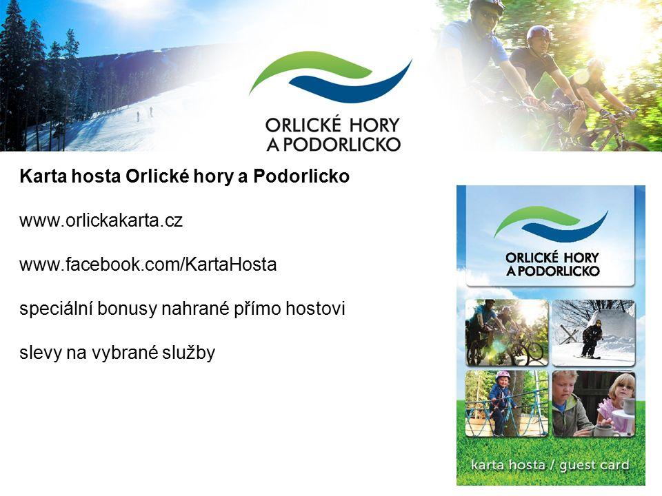 Karta hosta Orlické hory a Podorlicko www.orlickakarta.cz www.facebook.com/KartaHosta speciální bonusy nahrané přímo hostovi slevy na vybrané služby