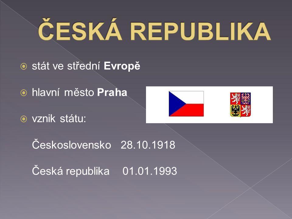  stát ve střední Evropě  hlavní město Praha  vznik státu: Československo 28.10.1918 Česká republika 01.01.1993