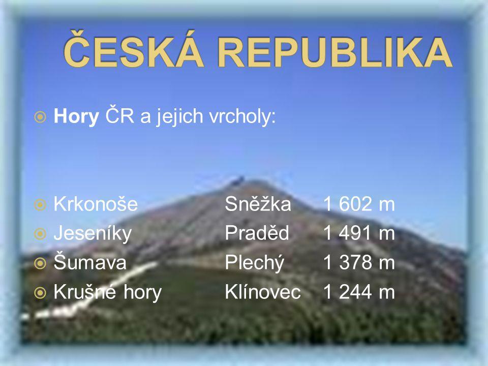  Hory ČR a jejich vrcholy:  KrkonošeSněžka1 602 m  JeseníkyPraděd1 491 m  ŠumavaPlechý1 378 m  Krušné horyKlínovec1 244 m