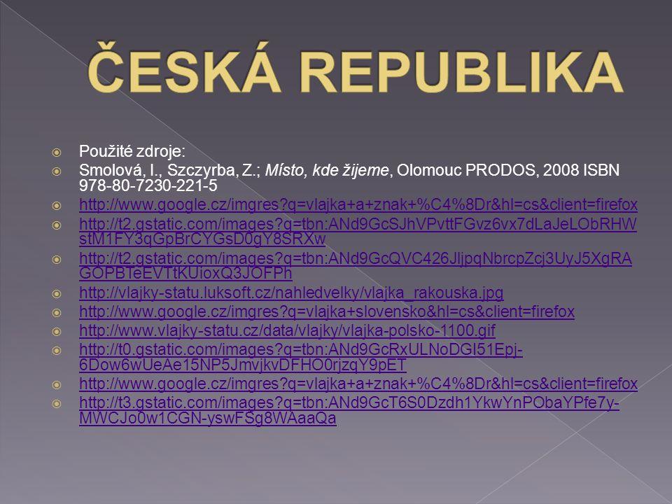  Použité zdroje:  Smolová, I., Szczyrba, Z.; Místo, kde žijeme, Olomouc PRODOS, 2008 ISBN 978-80-7230-221-5  http://www.google.cz/imgres q=vlajka+a+znak+%C4%8Dr&hl=cs&client=firefox http://www.google.cz/imgres q=vlajka+a+znak+%C4%8Dr&hl=cs&client=firefox  http://t2.gstatic.com/images q=tbn:ANd9GcSJhVPvttFGvz6vx7dLaJeLObRHW stM1FY3qGpBrCYGsD0gY8SRXw http://t2.gstatic.com/images q=tbn:ANd9GcSJhVPvttFGvz6vx7dLaJeLObRHW stM1FY3qGpBrCYGsD0gY8SRXw  http://t2.gstatic.com/images q=tbn:ANd9GcQVC426JljpqNbrcpZcj3UyJ5XgRA GOPBTeEVTtKUioxQ3JOFPh http://t2.gstatic.com/images q=tbn:ANd9GcQVC426JljpqNbrcpZcj3UyJ5XgRA GOPBTeEVTtKUioxQ3JOFPh  http://vlajky-statu.luksoft.cz/nahledvelky/vlajka_rakouska.jpg http://vlajky-statu.luksoft.cz/nahledvelky/vlajka_rakouska.jpg  http://www.google.cz/imgres q=vlajka+slovensko&hl=cs&client=firefox http://www.google.cz/imgres q=vlajka+slovensko&hl=cs&client=firefox  http://www.vlajky-statu.cz/data/vlajky/vlajka-polsko-1100.gif http://www.vlajky-statu.cz/data/vlajky/vlajka-polsko-1100.gif  http://t0.gstatic.com/images q=tbn:ANd9GcRxULNoDGI51Epj- 6Dow6wUeAe15NP5JmvjkvDFHO0rjzqY9pET http://t0.gstatic.com/images q=tbn:ANd9GcRxULNoDGI51Epj- 6Dow6wUeAe15NP5JmvjkvDFHO0rjzqY9pET  http://www.google.cz/imgres q=vlajka+a+znak+%C4%8Dr&hl=cs&client=firefox http://www.google.cz/imgres q=vlajka+a+znak+%C4%8Dr&hl=cs&client=firefox  http://t3.gstatic.com/images q=tbn:ANd9GcT6S0Dzdh1YkwYnPObaYPfe7y- MWCJo0w1CGN-yswFSg8WAaaQa http://t3.gstatic.com/images q=tbn:ANd9GcT6S0Dzdh1YkwYnPObaYPfe7y- MWCJo0w1CGN-yswFSg8WAaaQa