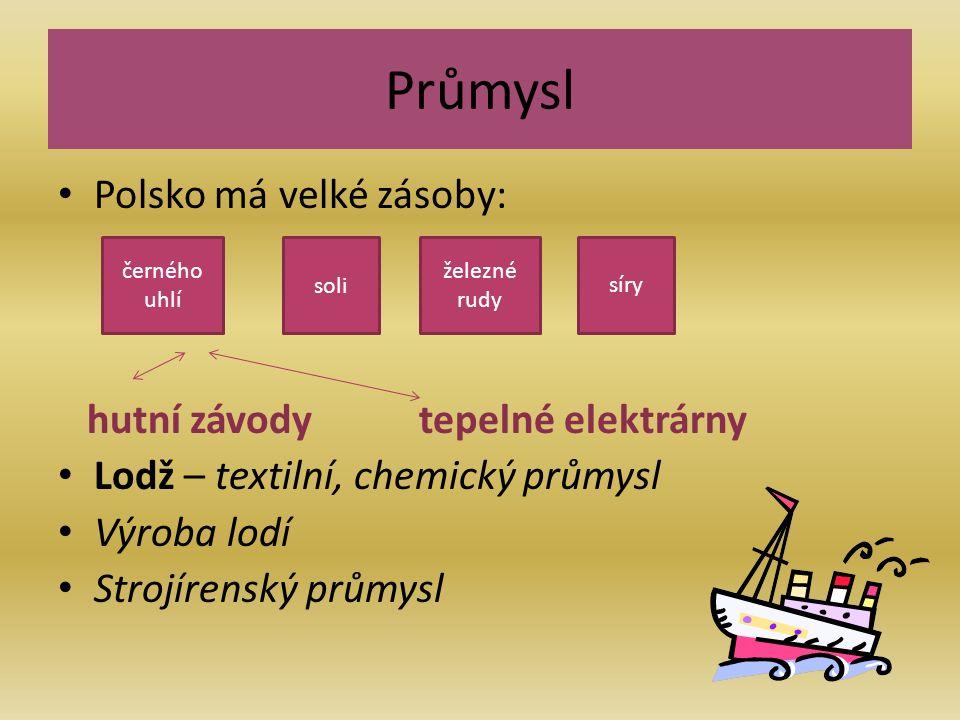 Průmysl Polsko má velké zásoby: hutní závody tepelné elektrárny Lodž – textilní, chemický průmysl Výroba lodí Strojírenský průmysl železné rudy síry soli černého uhlí