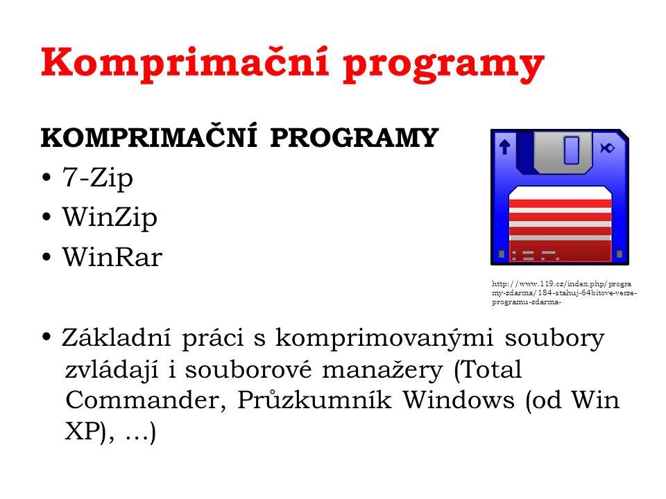 Komprimační programy KOMPRIMAČNÍ PROGRAMY 7-Zip WinZip WinRar Základní práci s komprimovanými soubory zvládají i souborové manažery (Total Commander, Průzkumník Windows (od Win XP), …) http://www.119.cz/index.php/progra my-zdarma/184-stahuj-64bitove-verze- programu-zdarma-