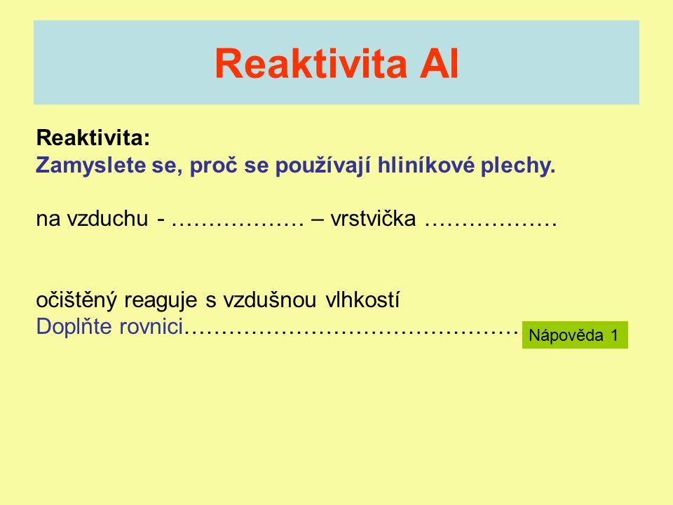 Reaktivita Al Reaktivita: Zamyslete se, proč se používají hliníkové plechy.