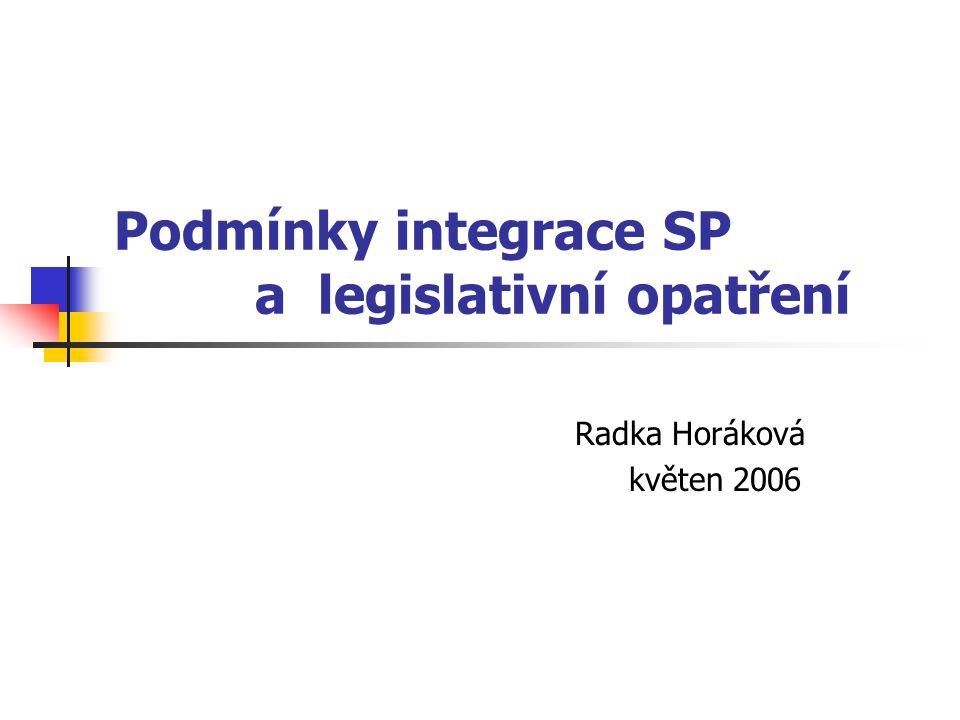 Podmínky integrace SP a legislativní opatření Radka Horáková květen 2006