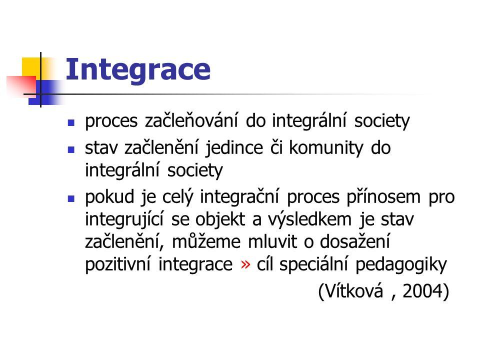 Integrace proces začleňování do integrální society stav začlenění jedince či komunity do integrální society pokud je celý integrační proces přínosem pro integrující se objekt a výsledkem je stav začlenění, můžeme mluvit o dosažení pozitivní integrace » cíl speciální pedagogiky (Vítková, 2004)