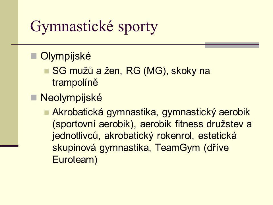 Gymnastické sporty Olympijské SG mužů a žen, RG (MG), skoky na trampolíně Neolympijské Akrobatická gymnastika, gymnastický aerobik (sportovní aerobik), aerobik fitness družstev a jednotlivců, akrobatický rokenrol, estetická skupinová gymnastika, TeamGym (dříve Euroteam)