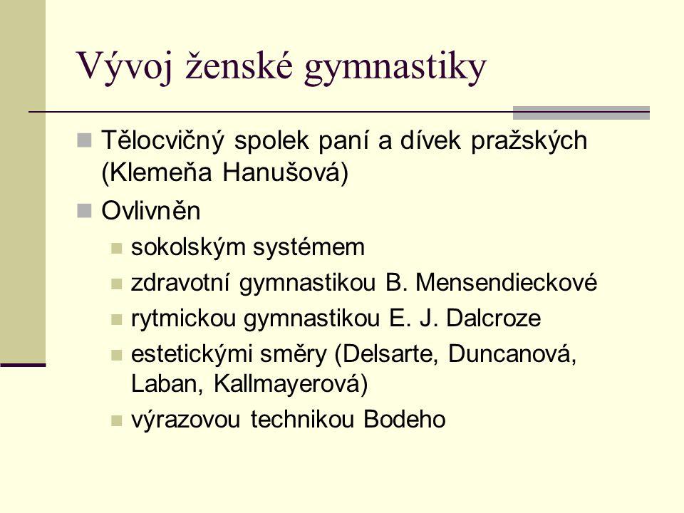 Vývoj ženské gymnastiky Tělocvičný spolek paní a dívek pražských (Klemeňa Hanušová) Ovlivněn sokolským systémem zdravotní gymnastikou B.