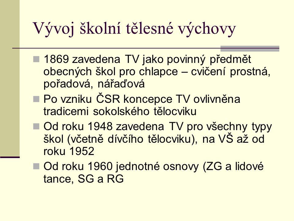 Vývoj školní tělesné výchovy 1869 zavedena TV jako povinný předmět obecných škol pro chlapce – cvičení prostná, pořadová, nářaďová Po vzniku ČSR koncepce TV ovlivněna tradicemi sokolského tělocviku Od roku 1948 zavedena TV pro všechny typy škol (včetně dívčího tělocviku), na VŠ až od roku 1952 Od roku 1960 jednotné osnovy (ZG a lidové tance, SG a RG