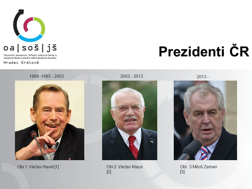 Prezidenti ČR Obr.1 Václav Havel [1]Obr.2 Václav Klaus [2] Obr.