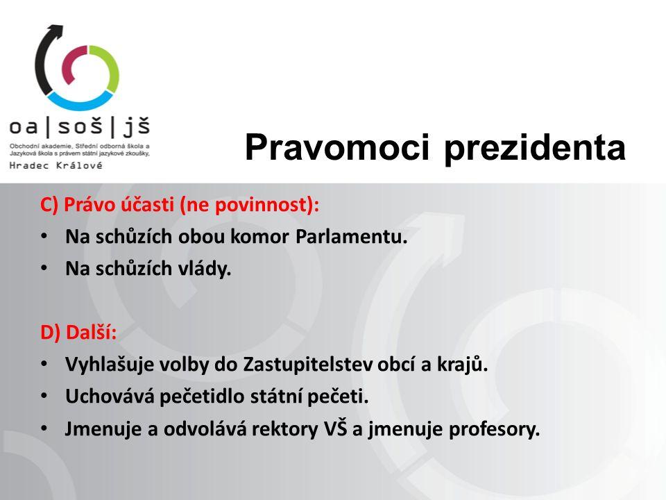 Prezidentská imunita Prezidenta republiky nelze zadržet, trestně stíhat, ani stíhat za přestupky nebo jiný správní delikt.