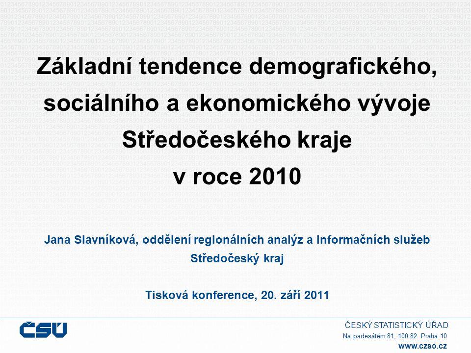 ČESKÝ STATISTICKÝ ÚŘAD Na padesátém 81, 100 82 Praha 10 www.czso.cz Středočeský kraj – vývoj v roce 2010  stal se krajem s nejvyšším počtem obyvatel  nejvyšší nárůst počtu obyvatel mezi kraji  pokračoval úbytek přistěhovalých ze zahraničí