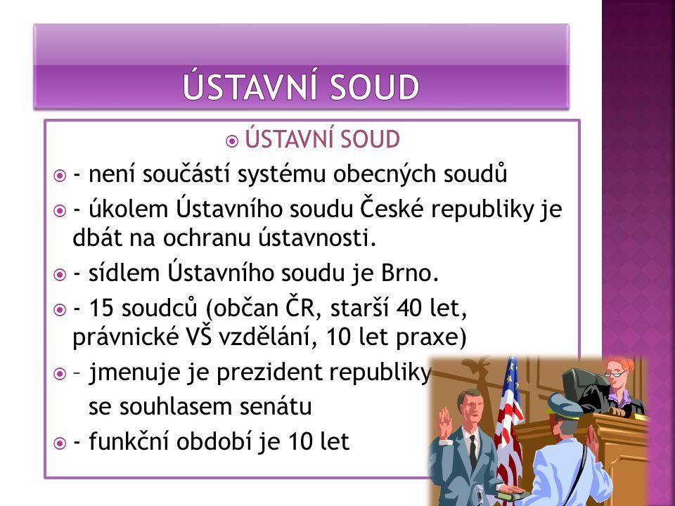  ÚSTAVNÍ SOUD  - není součástí systému obecných soudů  - úkolem Ústavního soudu České republiky je dbát na ochranu ústavnosti.