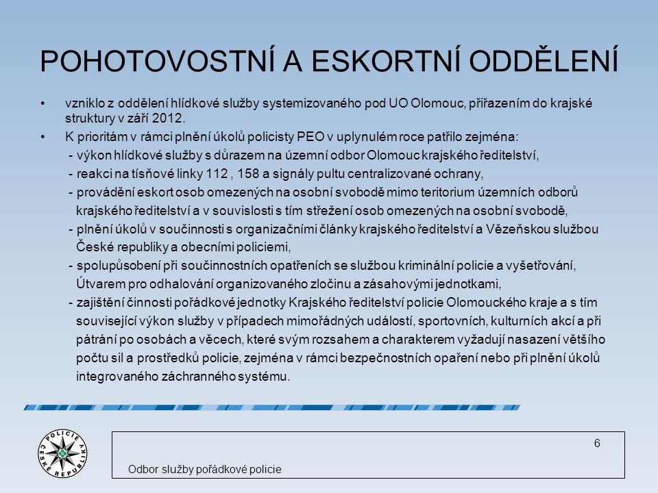 POHOTOVOSTNÍ A ESKORTNÍ ODDĚLENÍ vzniklo z oddělení hlídkové služby systemizovaného pod UO Olomouc, přiřazením do krajské struktury v září 2012.