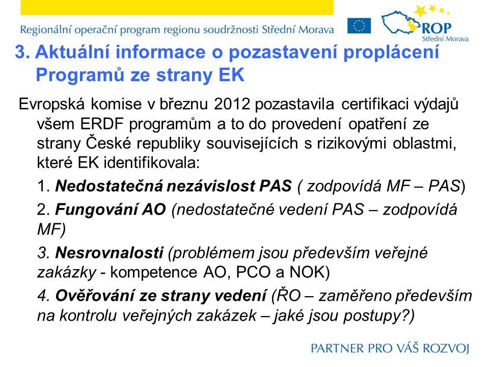 Evropská komise v březnu 2012 pozastavila certifikaci výdajů všem ERDF programům a to do provedení opatření ze strany České republiky souvisejících s rizikovými oblastmi, které EK identifikovala: 1.