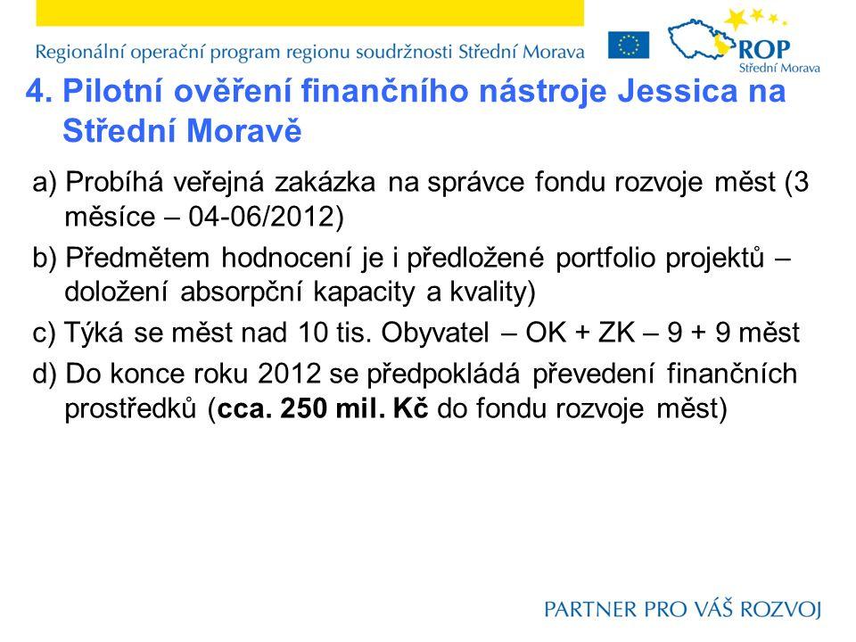 a) Probíhá veřejná zakázka na správce fondu rozvoje měst (3 měsíce – 04-06/2012) b) Předmětem hodnocení je i předložené portfolio projektů – doložení absorpční kapacity a kvality) c) Týká se měst nad 10 tis.