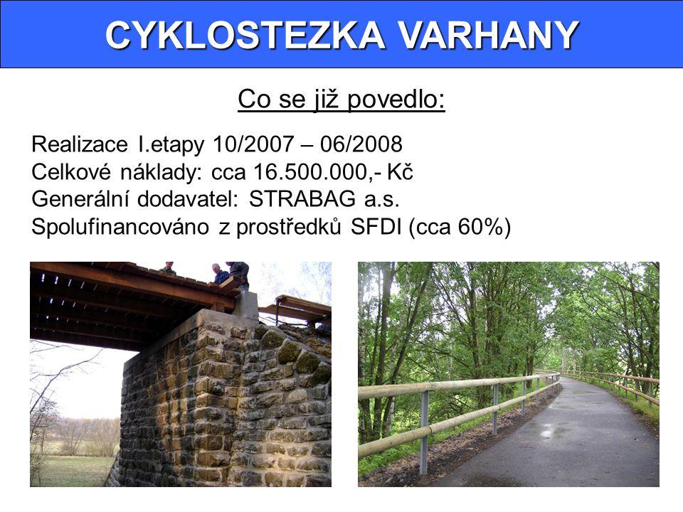 CYKLOSTEZKA VARHANY Co se již povedlo: Realizace I.etapy 10/2007 – 06/2008 Celkové náklady: cca 16.500.000,- Kč Generální dodavatel: STRABAG a.s.