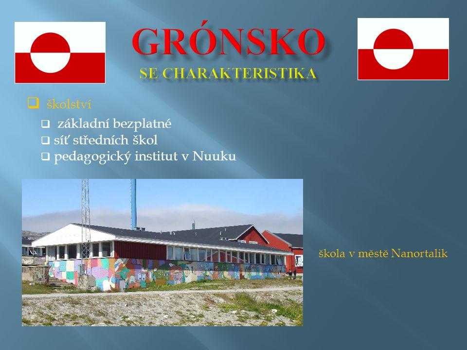  školství  základní bezplatné  síť středních škol  pedagogický institut v Nuuku škola v městě Nanortalik