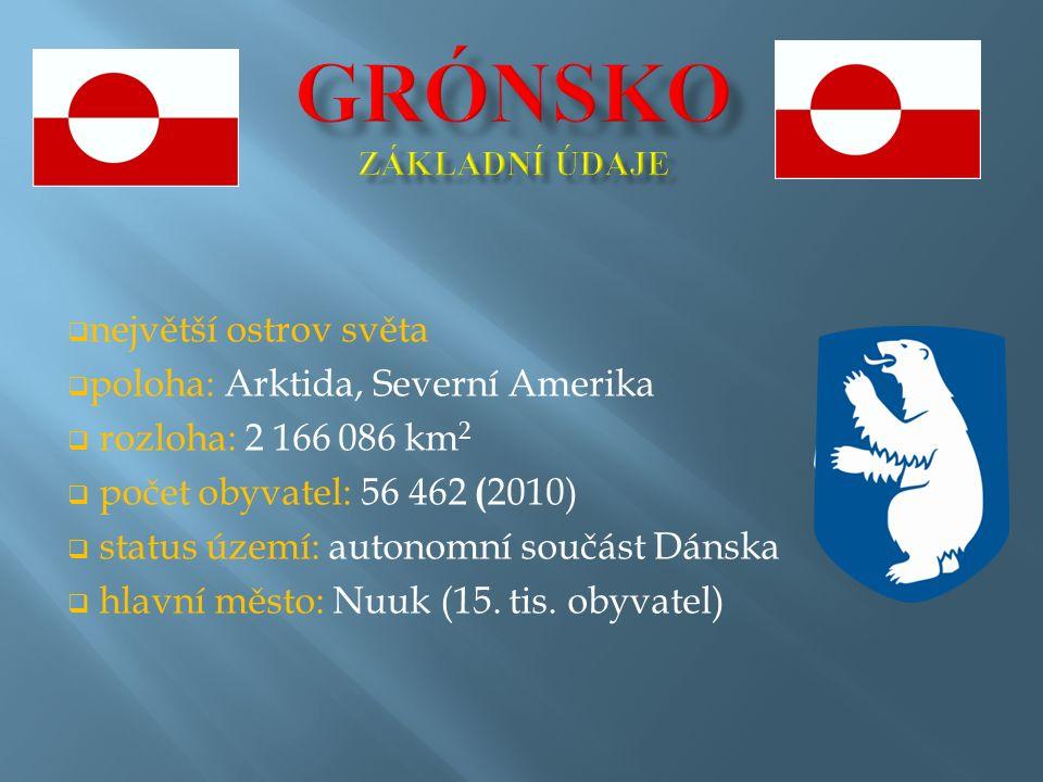  největší ostrov světa  poloha: Arktida, Severní Amerika  rozloha: 2 166 086 km 2  počet obyvatel: 56 462 ( 2010)  status území: autonomní součást Dánska  hlavní město: Nuuk (15.