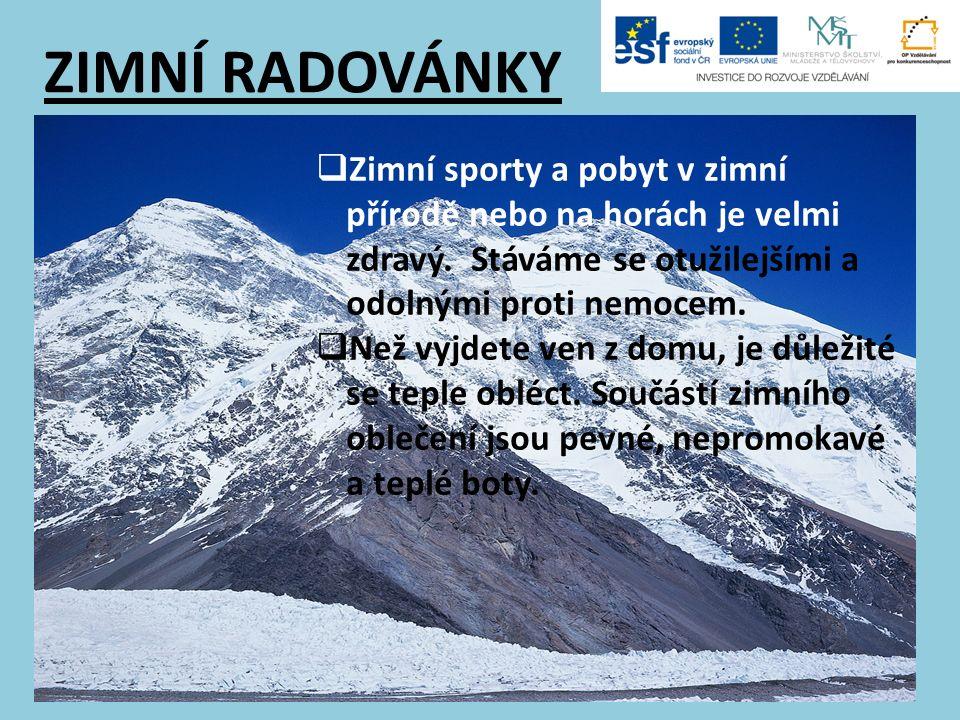 ZIMNÍ RADOVÁNKY  Zimní sporty a pobyt v zimní přírodě nebo na horách je velmi zdravý. Stáváme se otužilejšími a odolnými proti nemocem.  Než vyjdete