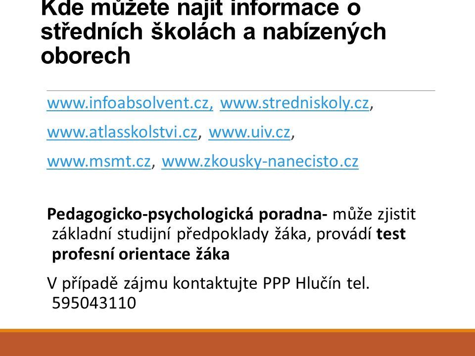 Kde můžete najít informace o středních školách a nabízených oborech www.infoabsolvent.cz,www.infoabsolvent.cz, www.stredniskoly.cz,www.stredniskoly.cz www.atlasskolstvi.czwww.atlasskolstvi.cz, www.uiv.cz,www.uiv.cz www.msmt.czwww.msmt.cz, www.zkousky-nanecisto.czwww.zkousky-nanecisto.cz Pedagogicko-psychologická poradna- může zjistit základní studijní předpoklady žáka, provádí test profesní orientace žáka V případě zájmu kontaktujte PPP Hlučín tel.
