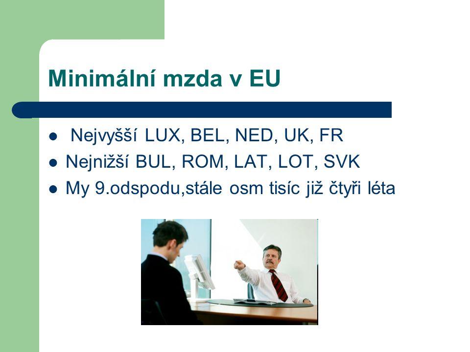 Minimální mzda v EU Nejvyšší LUX, BEL, NED, UK, FR Nejnižší BUL, ROM, LAT, LOT, SVK My 9.odspodu,stále osm tisíc již čtyři léta