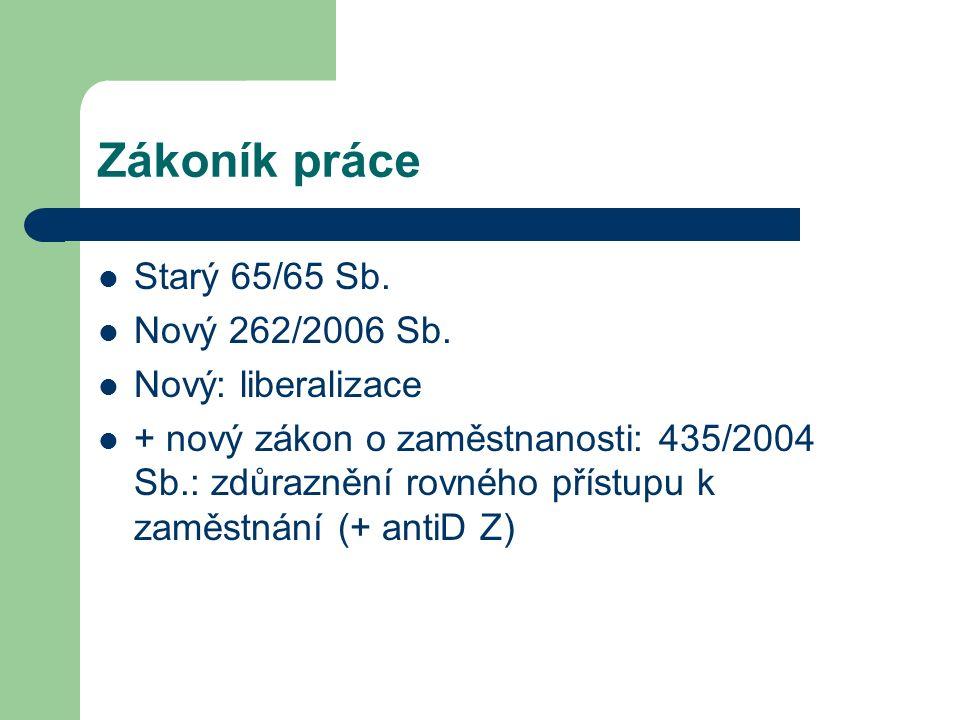 Zákoník práce Starý 65/65 Sb. Nový 262/2006 Sb.