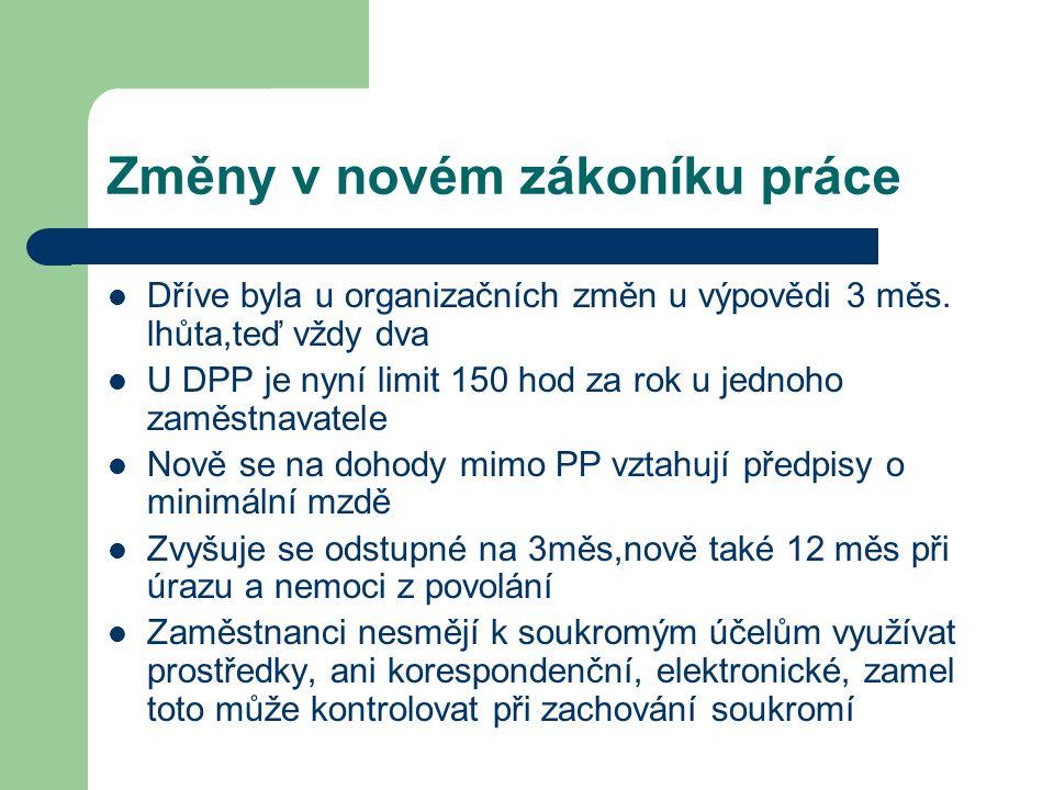 Změny v novém zákoníku práce Dříve byla u organizačních změn u výpovědi 3 měs.