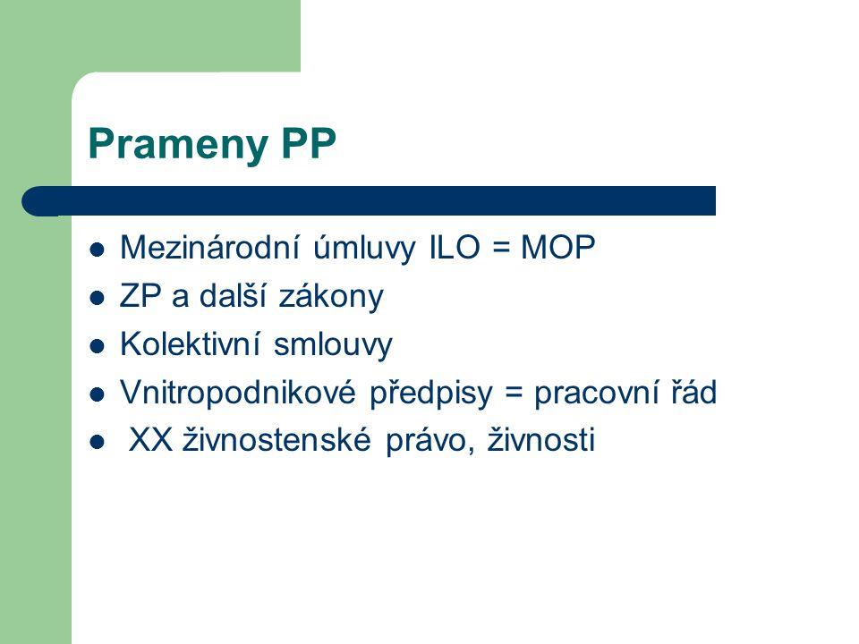 Prameny PP Mezinárodní úmluvy ILO = MOP ZP a další zákony Kolektivní smlouvy Vnitropodnikové předpisy = pracovní řád XX živnostenské právo, živnosti