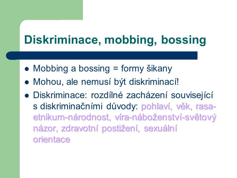 Diskriminace, mobbing, bossing Mobbing a bossing = formy šikany Mohou, ale nemusí být diskriminací.