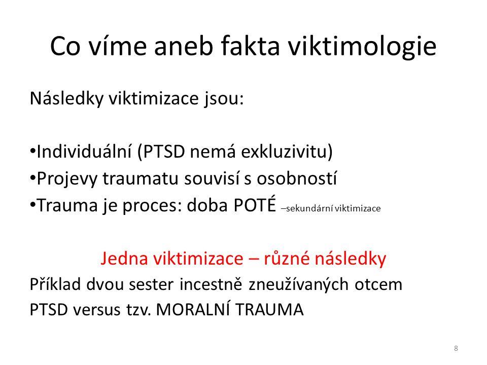 Co víme aneb fakta viktimologie varieta následků dotaz lékařky-sexuoložky diagnózy a viktimizační syndromy Diagnózy → psychopatologie, klinická ps., psychiatrie Viktimizační syndromy → viktimologie, psychotraumatologie 9