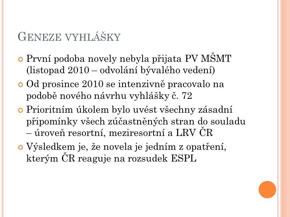 G ENEZE VYHLÁŠKY První podoba novely nebyla přijata PV MŠMT (listopad 2010 – odvolání bývalého vedení) Od prosince 2010 se intenzivně pracovalo na podobě nového návrhu vyhlášky č.
