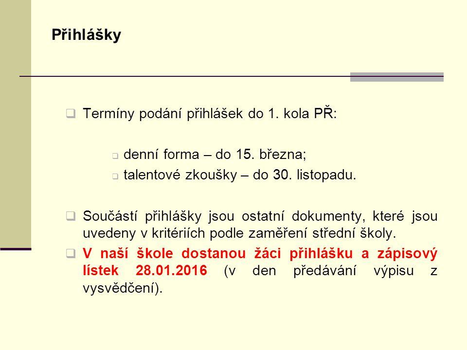 Přihlášky  Termíny podání přihlášek do 1. kola PŘ:  denní forma – do 15.