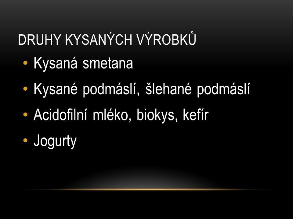 DRUHY KYSANÝCH VÝROBKŮ Kysaná smetana Kysané podmáslí, šlehané podmáslí Acidofilní mléko, biokys, kefír Jogurty