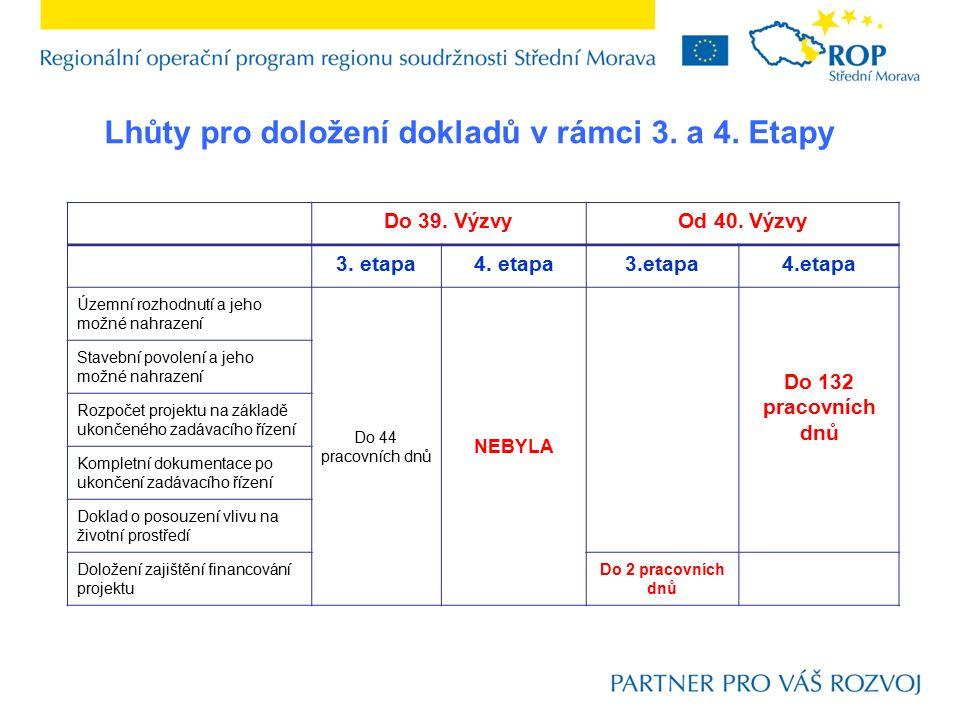 Lhůty pro doložení dokladů v rámci 3. a 4. Etapy Do 39. VýzvyOd 40. Výzvy 3. etapa4. etapa3.etapa4.etapa Územní rozhodnutí a jeho možné nahrazení Do 4