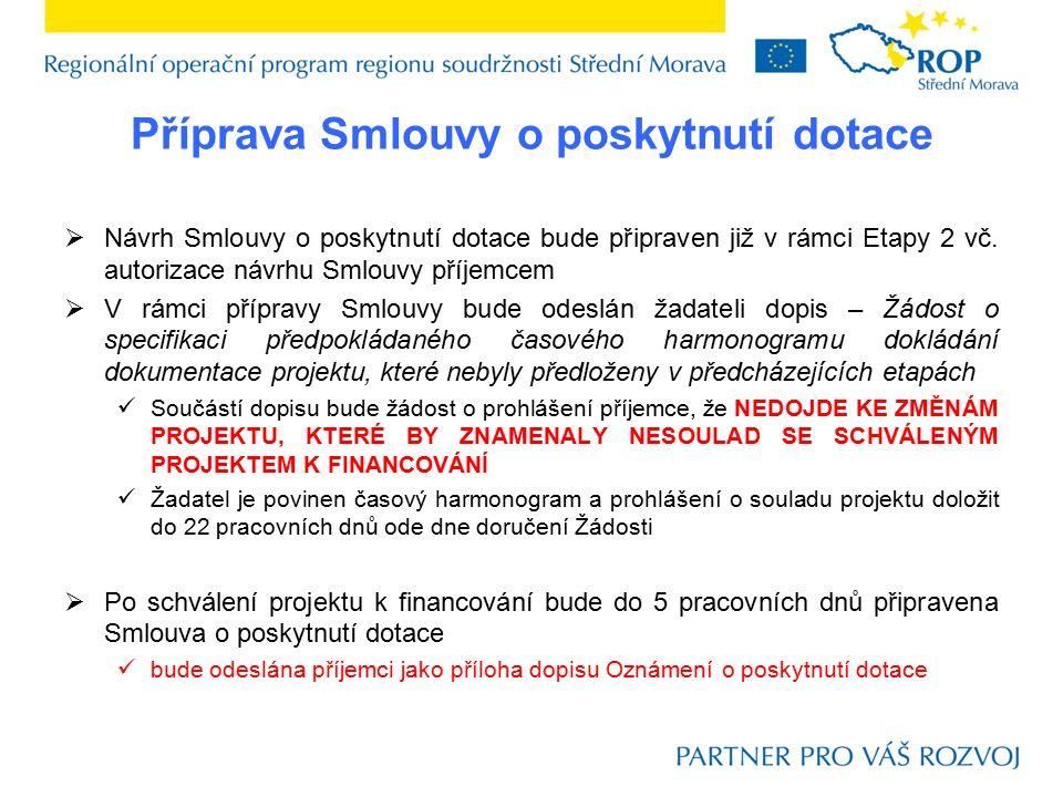 Příprava Smlouvy o poskytnutí dotace  Návrh Smlouvy o poskytnutí dotace bude připraven již v rámci Etapy 2 vč. autorizace návrhu Smlouvy příjemcem 
