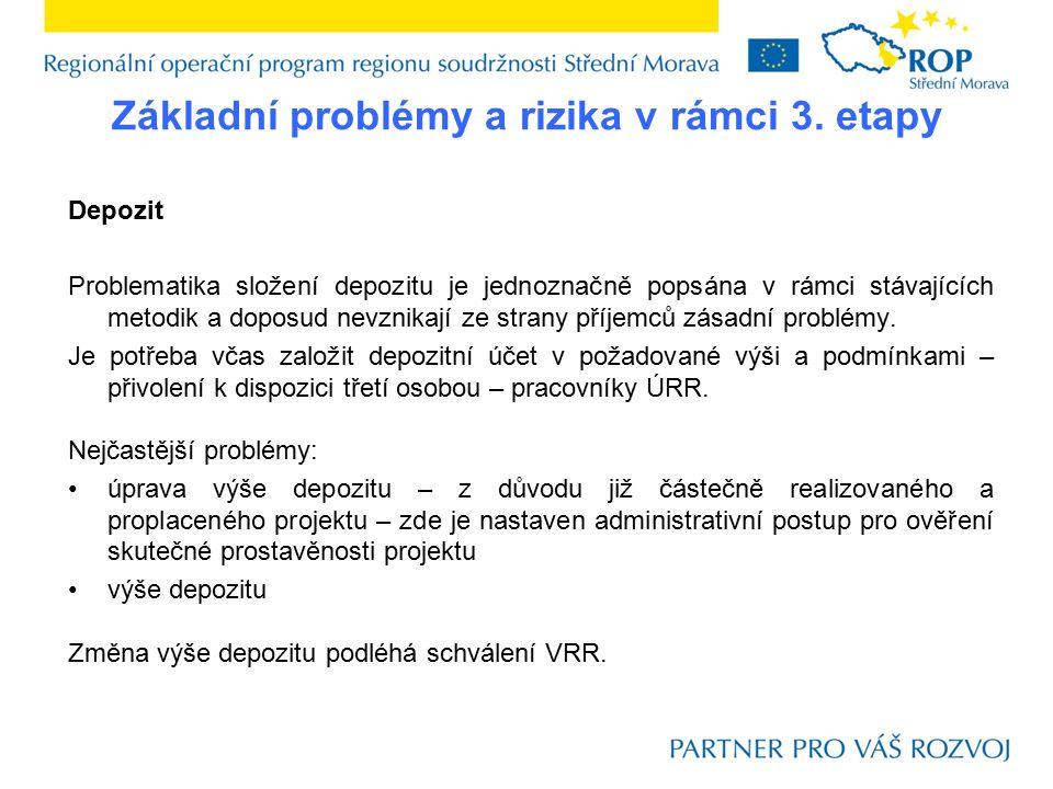 Základní problémy a rizika v rámci 3. etapy Depozit Problematika složení depozitu je jednoznačně popsána v rámci stávajících metodik a doposud nevznik