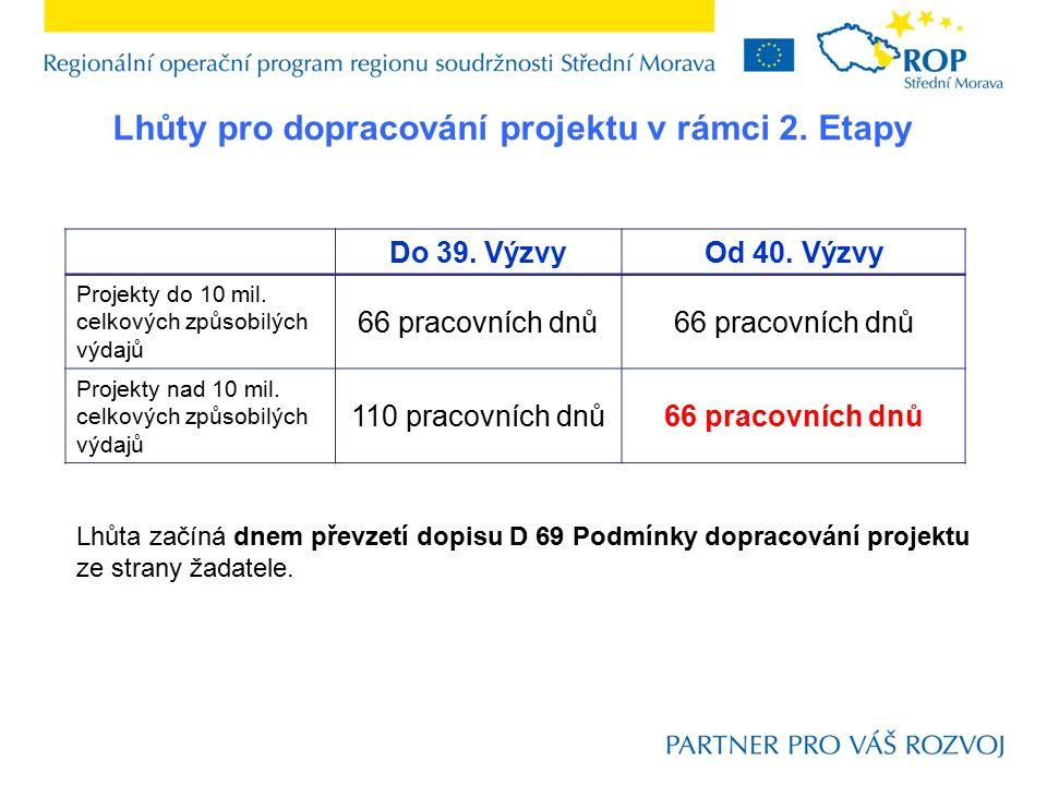 Lhůty pro dopracování projektu v rámci 2. Etapy Do 39. VýzvyOd 40. Výzvy Projekty do 10 mil. celkových způsobilých výdajů 66 pracovních dnů Projekty n