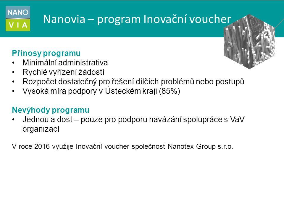 Nanovia – program Inovační voucher Přínosy programu Minimální administrativa Rychlé vyřízení žádostí Rozpočet dostatečný pro řešení dílčích problémů nebo postupů Vysoká míra podpory v Ústeckém kraji (85%) Nevýhody programu Jednou a dost – pouze pro podporu navázání spolupráce s VaV organizací V roce 2016 využije Inovační voucher společnost Nanotex Group s.r.o.