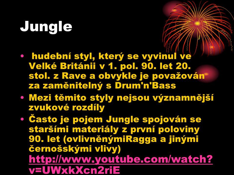 Jungle hudební styl, který se vyvinul ve Velké Británii v 1.