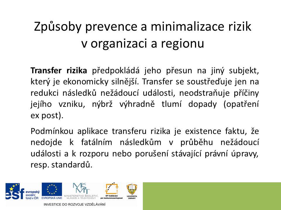 Způsoby prevence a minimalizace rizik v organizaci a regionu Transfer rizika předpokládá jeho přesun na jiný subjekt, který je ekonomicky silnější.