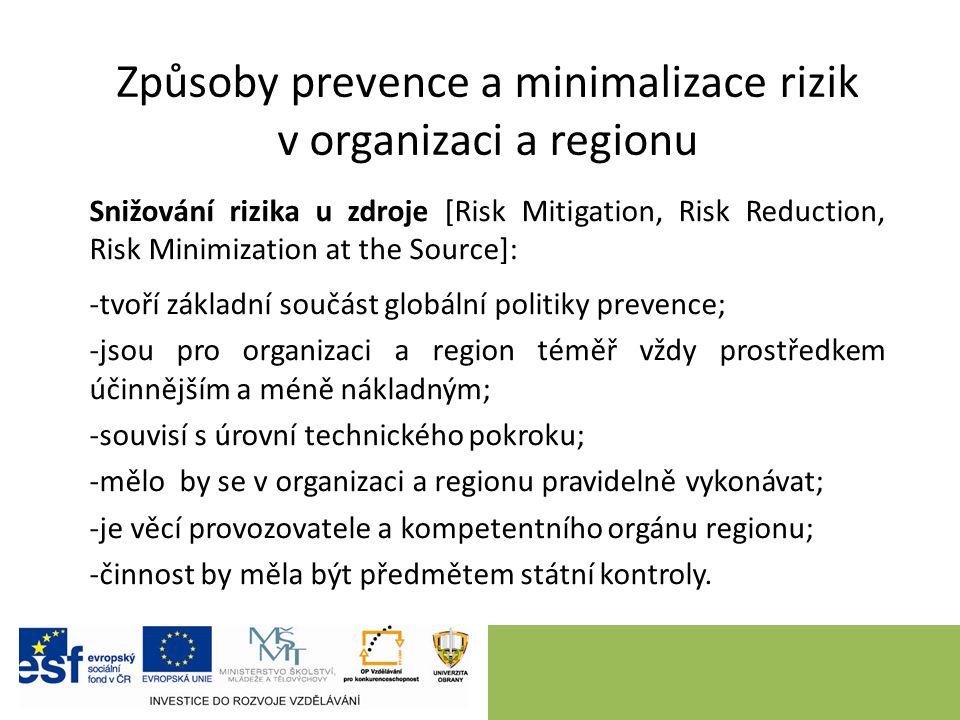 Způsoby prevence a minimalizace rizik v organizaci a regionu Snižování rizika u zdroje [Risk Mitigation, Risk Reduction, Risk Minimization at the Source]: -tvoří základní součást globální politiky prevence; -jsou pro organizaci a region téměř vždy prostředkem účinnějším a méně nákladným; -souvisí s úrovní technického pokroku; -mělo by se v organizaci a regionu pravidelně vykonávat; -je věcí provozovatele a kompetentního orgánu regionu; -činnost by měla být předmětem státní kontroly.