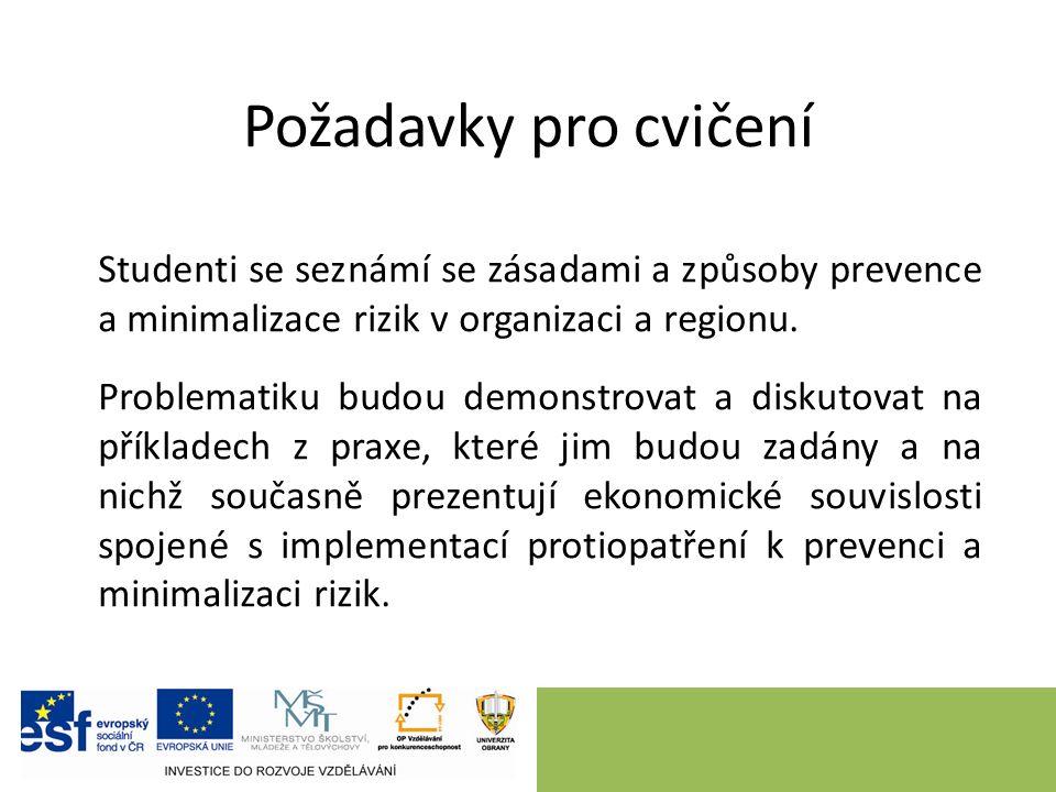 Studenti se seznámí se zásadami a způsoby prevence a minimalizace rizik v organizaci a regionu.