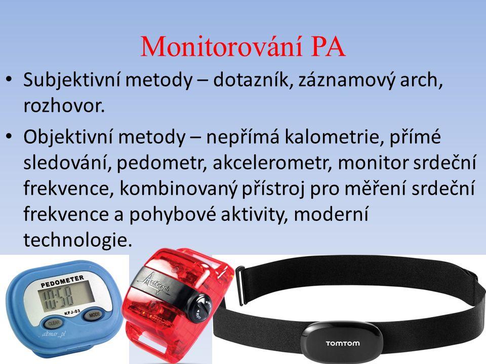 Monitorování PA Subjektivní metody – dotazník, záznamový arch, rozhovor.