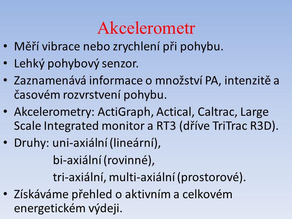Akcelerometr Měří vibrace nebo zrychlení při pohybu.