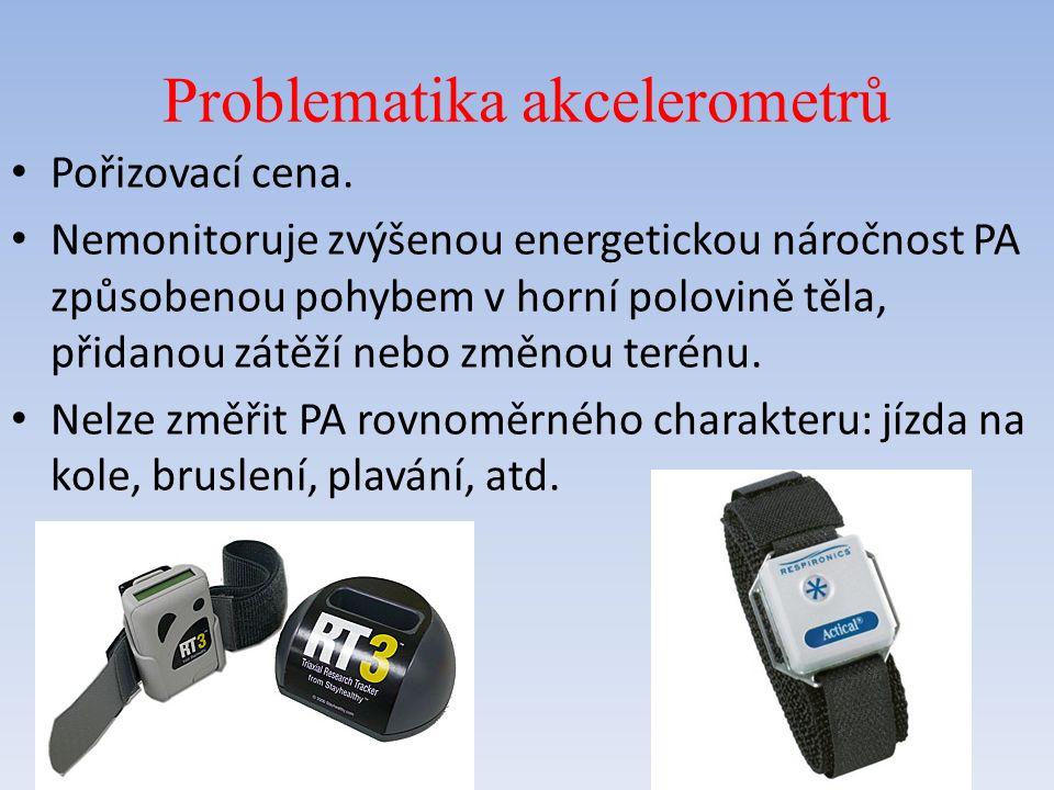 Sporttester (pulsmetr) Přístroj pro měření tepové frekcence + další fce Nejčastěji jde o kombinaci hodinek a hrudního pásu nebo hodinky se zabudovaným dotykovým čidlem (vhodné pro turistiku) Další funkce: počítání kalorií, procento tuku, v jaké hladině zátěže se nacházíme, sporttestery s footpodem (krokoměrem), s GPS, měření TF ve vodě, kompas, barometr, výškoměr, …