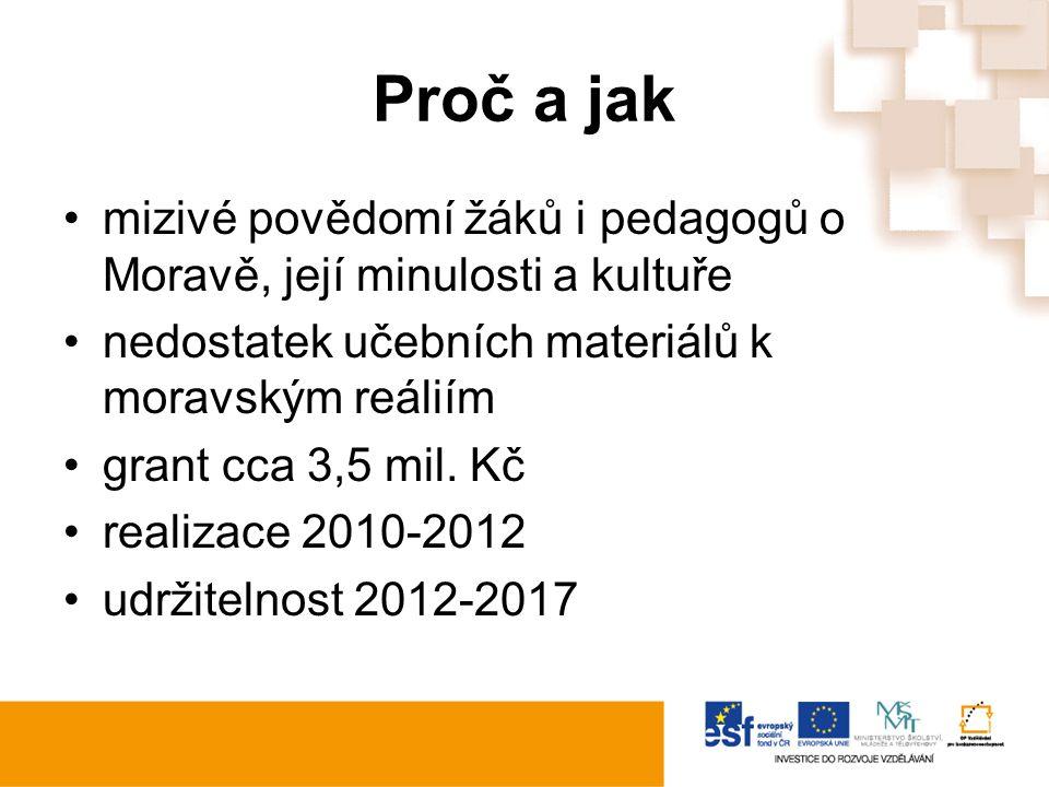 Proč a jak mizivé povědomí žáků i pedagogů o Moravě, její minulosti a kultuře nedostatek učebních materiálů k moravským reáliím grant cca 3,5 mil. Kč