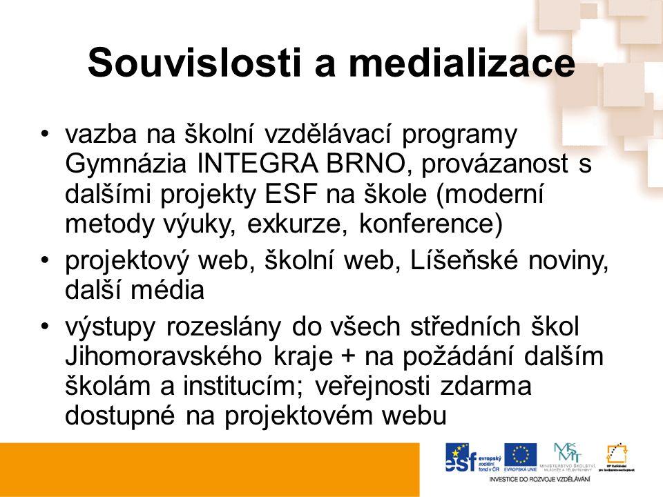 Souvislosti a medializace vazba na školní vzdělávací programy Gymnázia INTEGRA BRNO, provázanost s dalšími projekty ESF na škole (moderní metody výuky, exkurze, konference) projektový web, školní web, Líšeňské noviny, další média výstupy rozeslány do všech středních škol Jihomoravského kraje + na požádání dalším školám a institucím; veřejnosti zdarma dostupné na projektovém webu