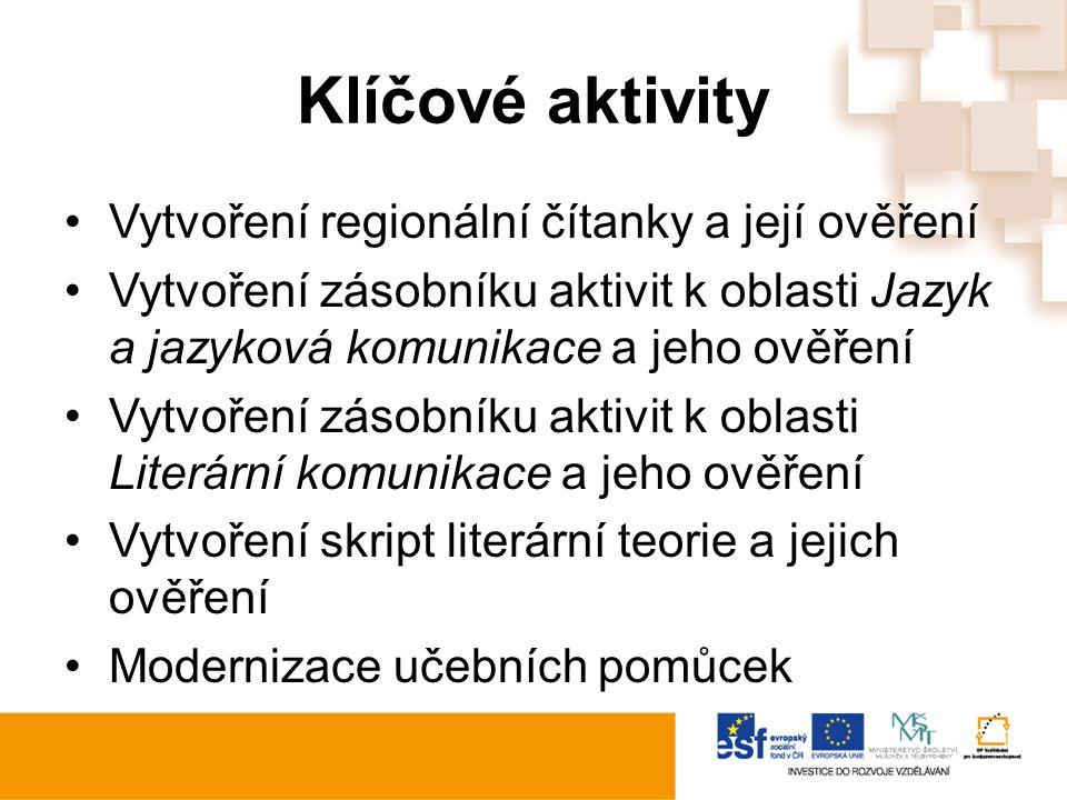 Klíčové aktivity Vytvoření regionální čítanky a její ověření Vytvoření zásobníku aktivit k oblasti Jazyk a jazyková komunikace a jeho ověření Vytvořen