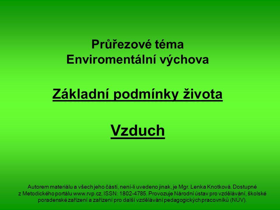 Průřezové téma Enviromentální výchova Základní podmínky života Vzduch Autorem materiálu a všech jeho částí, není-li uvedeno jinak, je Mgr.