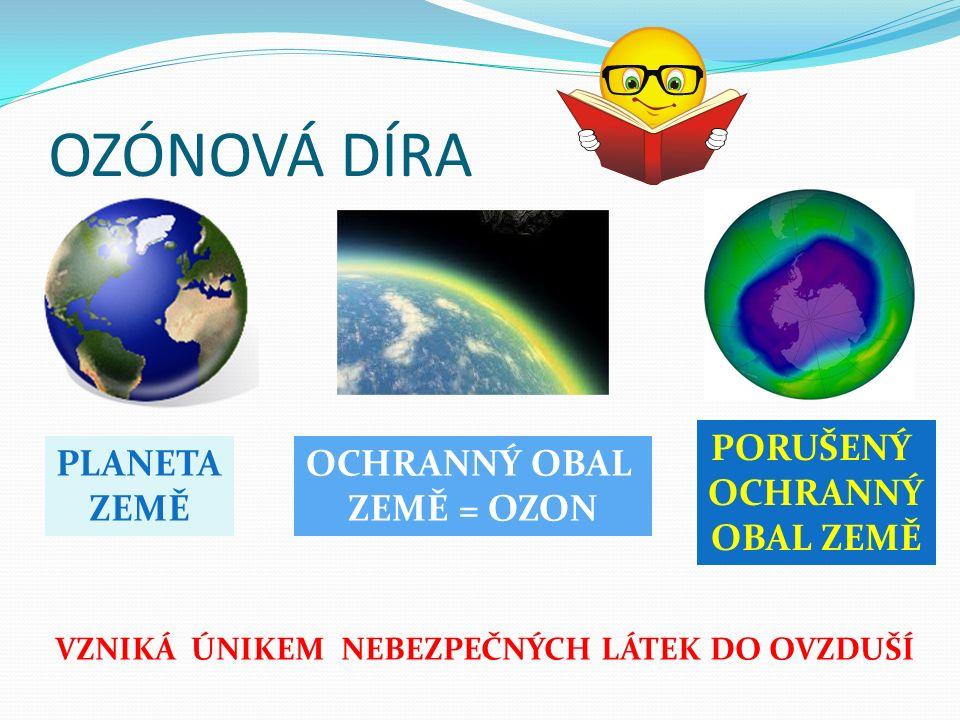 OZÓNOVÁ DÍRA PLANETA ZEMĚ OCHRANNÝ OBAL ZEMĚ = OZON PORUŠENÝ OCHRANNÝ OBAL ZEMĚ VZNIKÁ ÚNIKEM NEBEZPEČNÝCH LÁTEK DO OVZDUŠÍ